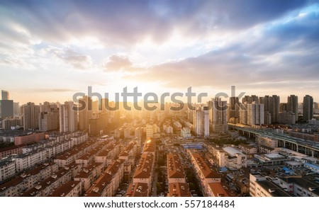 Sunset in the city of Shanghai