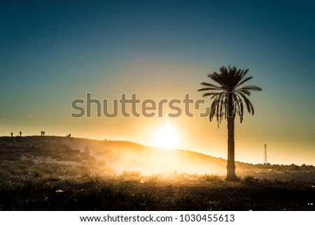 Sunset in the desert near Douz in Kebili, Tunisia