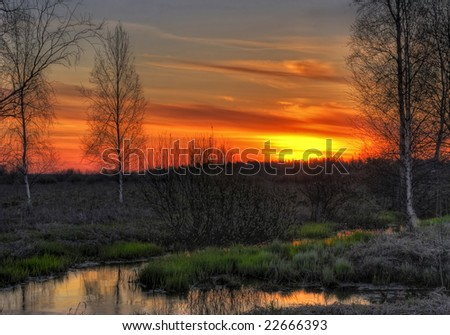 Sunset in the field. It is photographed in Russia. 60 kilometers from Moscow. Spring