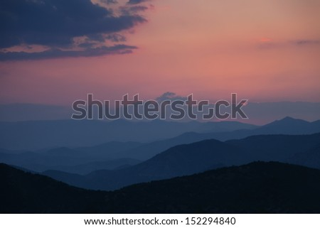 Sunset in the foggy mountains, Ukraine, Crimea