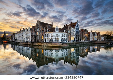 Sunset in the historic city of Bruges, Belgium