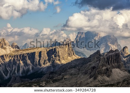 Sunset in the mountains - Dolomites, Italy - stock photo
