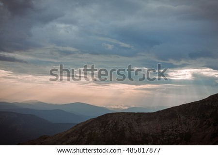 "sunset in the mountains (""Kuznetsky Alatau"", Russia, Siberia)"