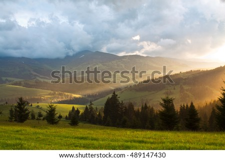 Sunset in the mountains. landscape