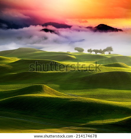 sunset in the mountains landscape for adv or others purpose use - stock photo