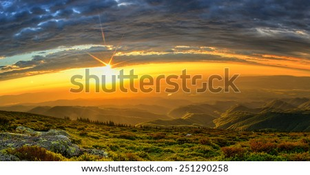Sunset in the mountains landscape. High dynamic range image. - stock photo