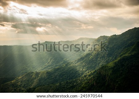 Sunset in the mountains landscape, Phu tub berg, Phetchabun province , North of Thailand.