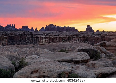 Sunset in the Needles district, Canyonlands, Utah, USA.