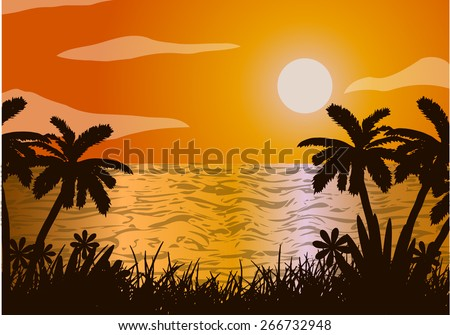 Sunset in the ocean. Beach and palm tree