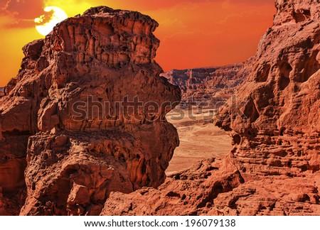 Sunset in the stone desert  - stock photo