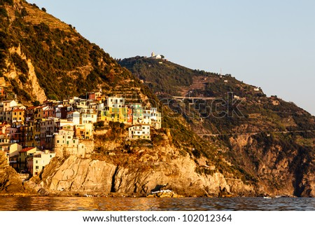 Sunset in the Village of Manarola in Cinque Terre, Italy - stock photo