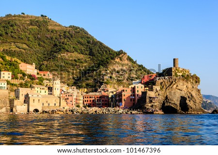 Sunset in the Village of Vernazza in Cinque Terre, Italy