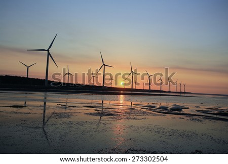 sunset in the windmills and coast at Gaomei Wetland refuge, taiwan