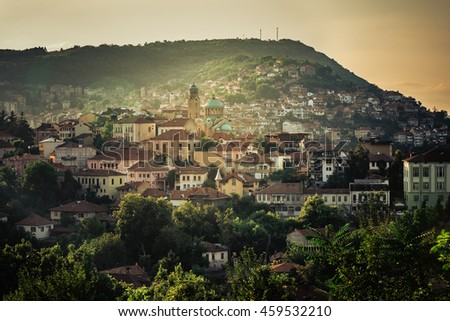 Sunset in Veliko Tarnovo, a city in north central Bulgaria. Domes of Rozhdestvo Bogorodichno church.