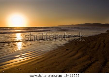 Sunset in Venice Beach, California, USA - stock photo
