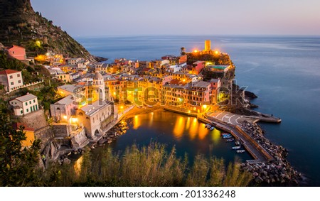Sunset in Vernazza, Cinque Terre National Park, Italy - stock photo