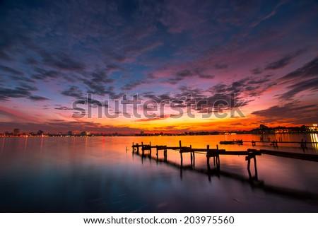 Sunset in West Lake, Hanoi, Vietnam - stock photo