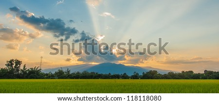 sunset in winter. - stock photo