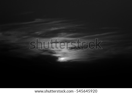sunset in winter, cloudy sky lights