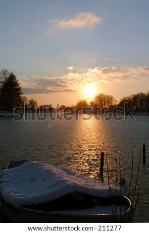 Sunset in winter in Holland