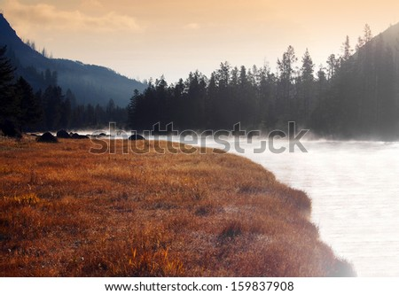 Sunset in Yellowstone National Park, Wyoming, United States - stock photo