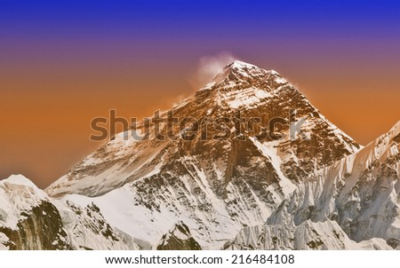 Sunset intense color filtered picture of Everest, Nepal.