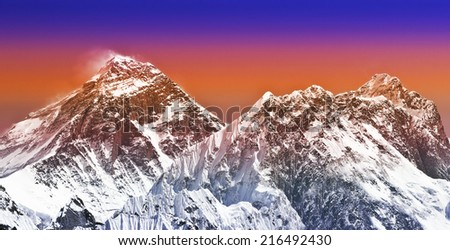 Sunset intense color filtered picture of Everest, Nepal. - stock photo