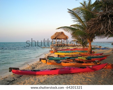 Sunset Kayak in Belize Beach - stock photo