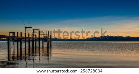 Sunset Lake Tahoe in the summer - stock photo