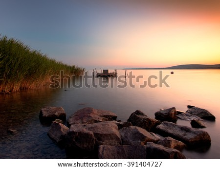 Sunset lake. This photo make in Hungary,lake Balaton