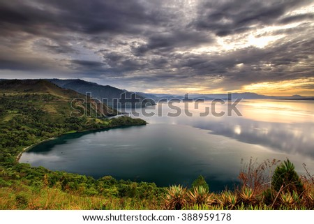 Sunset Lake To Ba  location North Sumatra Indonesia