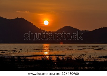 sunset lake view - stock photo
