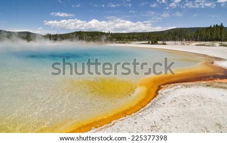 Sunset Lake, Yellowstone National Park, Wyoming - stock photo