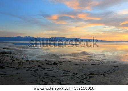 Sunset landscape at the Great Salt Lake, Utah, USA. - stock photo