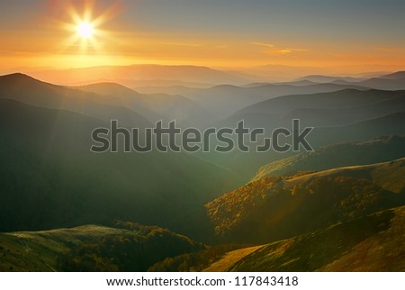 Sunset landscape in Carpathian mountains - stock photo