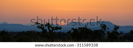 Sunset landscape in Mallorca at the summer time