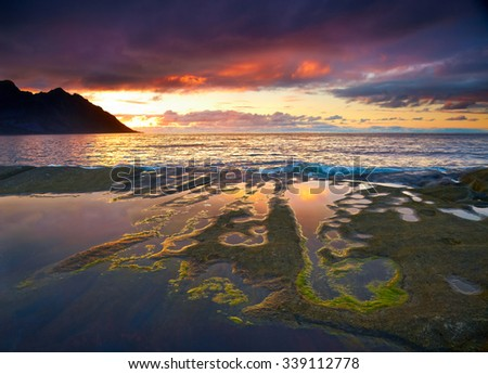 Sunset landscape of Northern Norway. Senja island - stock photo