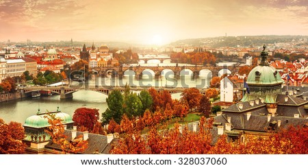 Sunset landscape view to Charles bridge on Vltava river in Prague Czech republic. Illustration - stock photo