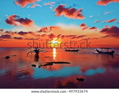 Sunset landscape with sea and cloudy sky. Colorful seascape digital illustration. Asian island sea view with traditional fishing boats on sunset. Red and blue tropical sunset image for banner template