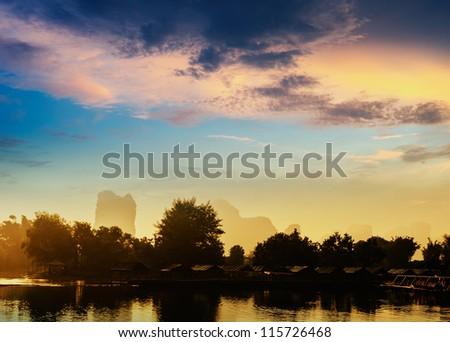 Sunset landscpae of yangshuo in guilin,china - stock photo
