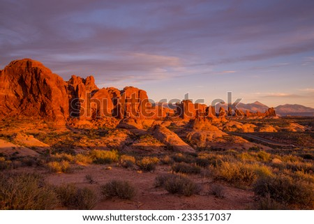 Sunset light hitting the beautiful Garden of Eden rock formations in Arches National Park