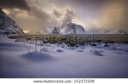 Sunset light in Vareid`s beach, Lofoten, Norway - stock photo