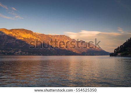 Sunset light on the hill lake Como