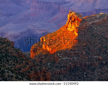 Sunset lighted butte in the Grand Canyon