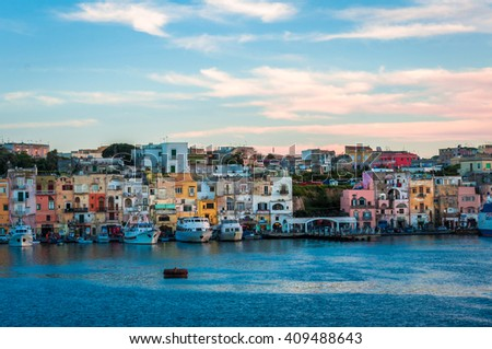 Sunset lights at Procida Island