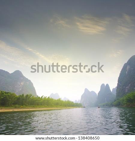 Sunset Lijiang guilin - stock photo