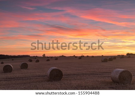 Sunset, Lincoln-shire Wolds, Lincoln-shire, England. - stock photo