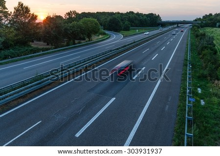 Sunset long-exposure over a german highway