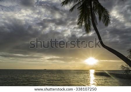 Sunset Maldives. - stock photo