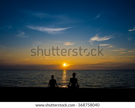 Sunset Meditation on the beach. Most beautiful sun and sky